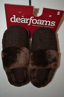 Dearfoams  Womens Slippers  Size S 5/6  NWT Sweater Coffee