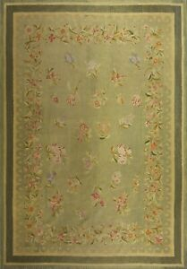 Rare Antique French Aubusson Rug Louis Phillipe 7x10  213cmx310cm  Green C.1840