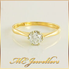 Solitare 0.50ct K/VS1 Round Cut Natural Diamond Vintage Engagement Ring 18k Gold