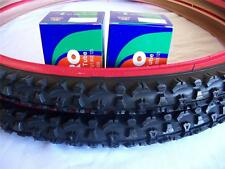 Two (2) Duro 26x2.10 Red Wall Mountain Bicycle Tires & (2) Duro inner tubes