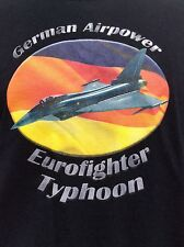 GERMAN AIRPOWER Eurofighter Typhoon Modern Warfare black Military T Shirt sz L