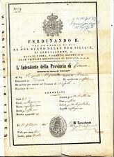 DD490-PASSAPORTO-FERDINANDO II RE DELLE 2 SICILIE 1856