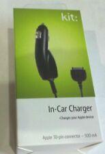 Apple 30 Pin En Coche Cargador de viaje 12V Negro-Iphone 3G, 3GS, 4, 4S, Ipod, Ipad