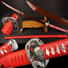 Boutique Japan Samurai Sword Katana Red Pattern Steel Handmade Razor Sharp Blade