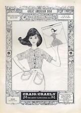 1962 Craig/Craely Fashion Shirt ART Girl Holding Record PRINT AD