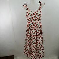 Mixinni Dress L Fit Flare Tie Retro Pin Up Red White A-line Floral Rose VLV