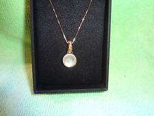 "18"" White Shell Doublets Hammered Pendant Necklace 18k Rose Gold-Plated Silver"
