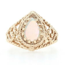 Yellow Gold Opal Solitaire Ring - 10k Pear Cabochon .60ct Rope Detailing