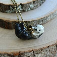Hand Painted Swimming River Otter Necklace Antique Bronze Chain Ceramic Animal