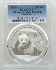 2015 China Panda 10 Ten Yuan Solid .999 Silver 1oz Coin PCGS MS70