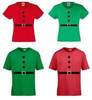 Santa & Elf T-Shirts - Girls & Boys - Kids Childrens Funny Christmas Xmas Outfit