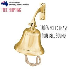 100% Solid Brass 112mm Traditional Ships Bell With Rope Door Wall  Playground