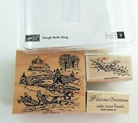 Stampin Up Sleigh Bells Ring Stamps Wood Mount Set of 3 Winter Scene Christmas