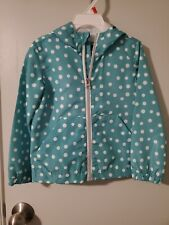Girls 4T Blue & White Mary Jane Hooded Raincoat, Nwt