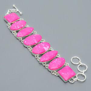 """Pink Howlite Gemstone 925 Sterling Silver Link Bracelet 7.99"""" S1959"""
