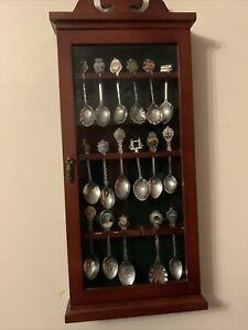 Wall Mounted Display Cabinet with Perspex Door for 18 Tea Spoons