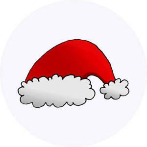 24 x 40mm Round 'Santa's Hat' Stickers (SK00018682)