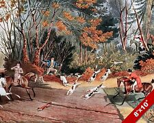 RUNNIG FOR LIFE FOX HUNT HORSE FOXHUNTING HUNTING ART PAINTING REAL CANVAS PRINT