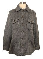 Who What Wear Herringbone Shirt Jacket Coat Button Up Pockets Wool Blend NWOT  S