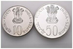 Indien 50 Rupien 1978 (AG) & 10 Rupien 1978 (Cu-Ni) F.A.O. Gewicht: 34,7g/500