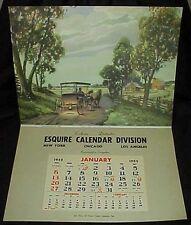 1952 Esquire Calendar Division Salesman Sample Calendar Surrey Fringe On Top