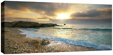 Large Pebbled Beach Canvas Picture Sunset Sea Canvas Wall Art  113 x 52 cm