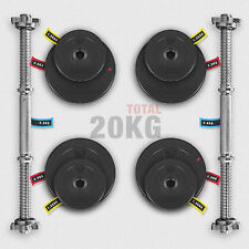 Dumbbell Vinyl Weight Set Gym Weights Biceps Workout Home Training Fitness 20kg 2x10kg