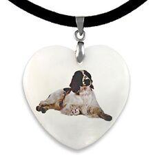 Welsh Springer Spaniel Dog Natural Mother Of Pearl Heart Pendant Necklace PP198