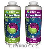 General Hydroponics FloraDuo A & B 1 Quart 32oz Combo - qt gh nutrient flora duo