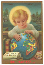 Vintage Catholic Holy Card Holy Child Jesus w/ Globe School Mother Nealis art