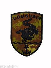 Patch COMSUBIN Marina Militare Mimetica Vegetata Scudetto Toppa Vegetato Ricamo