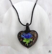 Pendentif Coeur  Norina  Fleur Bleue Incrustée Verre Murano