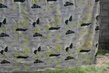 Vtg Barkcloth Fabric Atomic Sputnik Boomerang Mid Century Gray Green 76x110 MCM