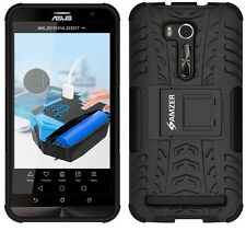 AMZER Dual Layer Hybrid Warrior Case w/ Stand For Asus Zenfone Go ZB551KL -Black