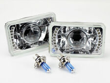 "4x6"" Halogen H4 Clear LED DRL Projector Glass Headlights Conversion Bulbs Chevy"