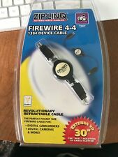 ZipLinq Retractable 1394a Apple Firewire 4pin male-4pin male Adapter 2.5ft New