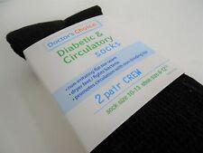 Doctors Choice Diabetic And Circulatory Men Black Crew Sock 2 Pair Size 10 - 13