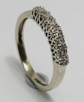 100% Genuine Vintage 9k Solid White Gold Diamonds Eternity Ring Sz 6.5 US