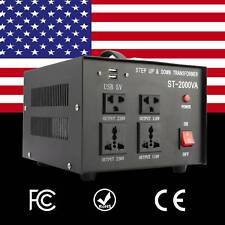 2000W Converter Transformer Step Up Down Heavy Duty 110V ⇋ 220V Voltage USB AC