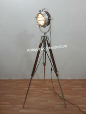 NAUTICAL ELECTRIC FLOOR SEARCHLIGHT TRIPOD STAND SPOTLIGHT LAMPS HOME DECOR