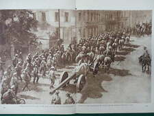 1916 RUSSIAN ARMY MARCHING THROUGH RUMANIA ANTI AIRCRAFT GUN WWI WW1 DOUBLE PAGE