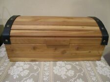"""Handcrafted Solid Cedar Wood Chest/Jewelry Box w/Leather Accents 7"""" Tall (1pc)"""