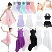 Girls Lyrical Dance Dress Ballet Leotard Contemporary Costume Dancewear Outfit