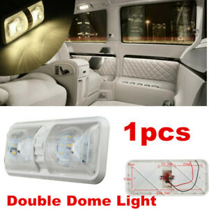 1 x RV 12V LED Fixture Ceiling  Camper Trailer Marine Interior Double Dome Light