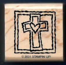 CROSS HEART Risen FRAMED RELIGIOUS Bible Stampin' Up! 2001 wood RUBBER STAMP