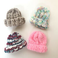 Hand Knitted Beanie Hats for Plush Teddy Bears & Dolls Lot of 4 All Different