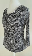 Style and Co Women's Blouse White/Black Drape Scoop-Neck Embellished Size M