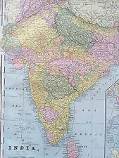 Antique COLOR MAP of India-circa 1893