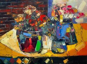 """Original painting """"Expressionist Still Life"""" Oil on canvas 18x24 in by Ana Kim"""