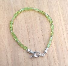 Peridot Beaded Bracelet (August Birthstone), Silver Plated, 7 3/4""